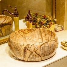 Ванная комната круглый умывальный таз искусство дерево-Текстура керамика для мытья посуды бассейна чаша туалета одно отверстие раковина