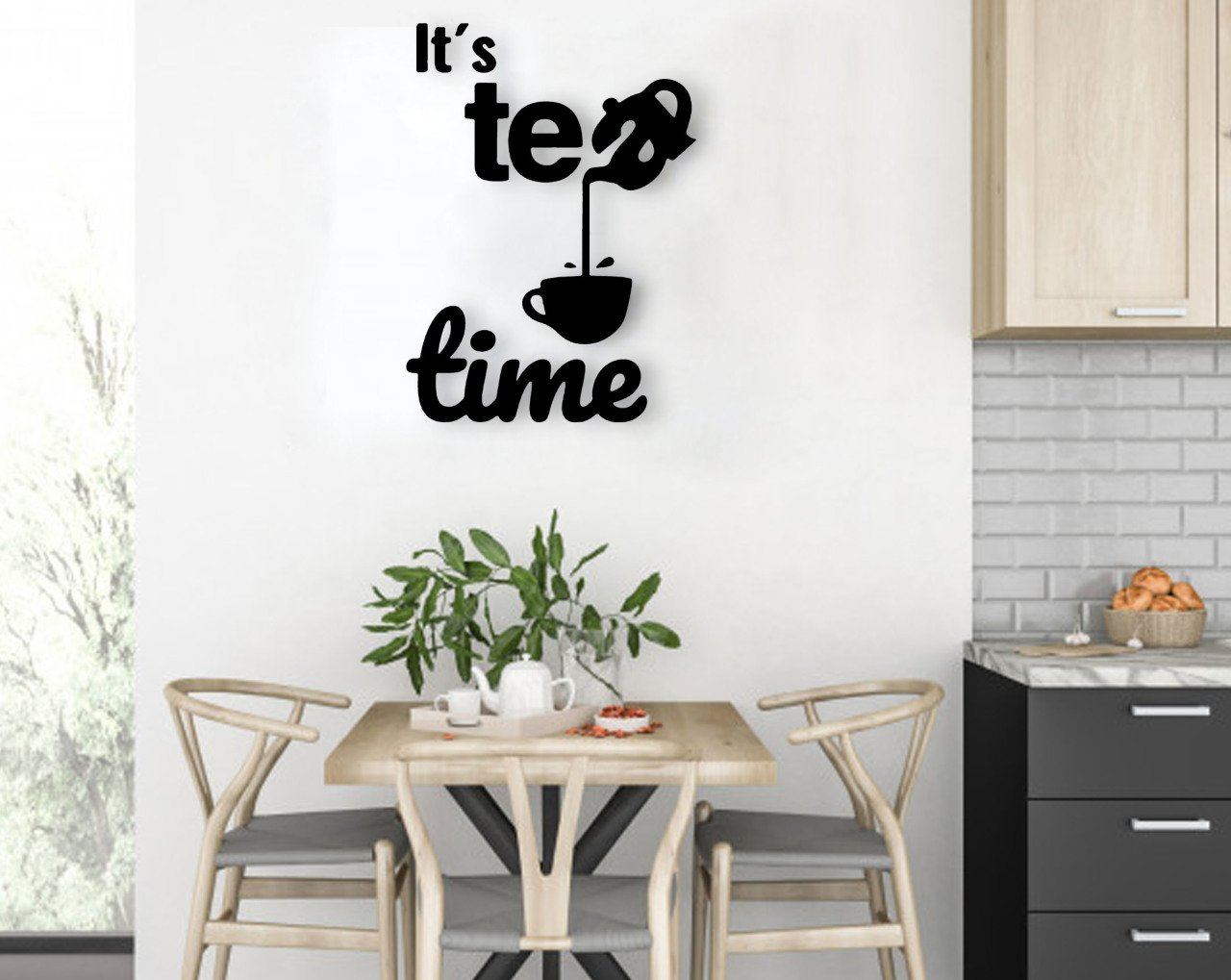 BK Home It's Tea Time Wooden Wall Post Modern Convenient Reliable Decoration Gift Quality Design Simple Vicinity