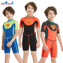 Kids 2.5MM Neoprene One Piece Wetsuit Short Sleeve for Boys Girls Anti-UV Warm Scuba Diving Suit Swimsuit Surf Snorkeling Suits(China)