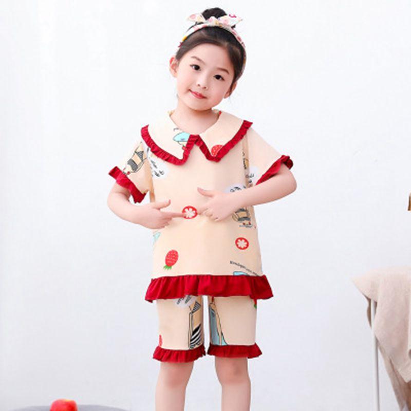 Новый летний детский домашний костюм с коротким рукавом и шортами, милая одежда для сна для девочек, Повседневная Пижама для детей, размеры ...