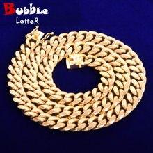 12mm miami cubana chain masculino colar de aço inoxidável cor ouro chapeado hip hop moda rock jóias