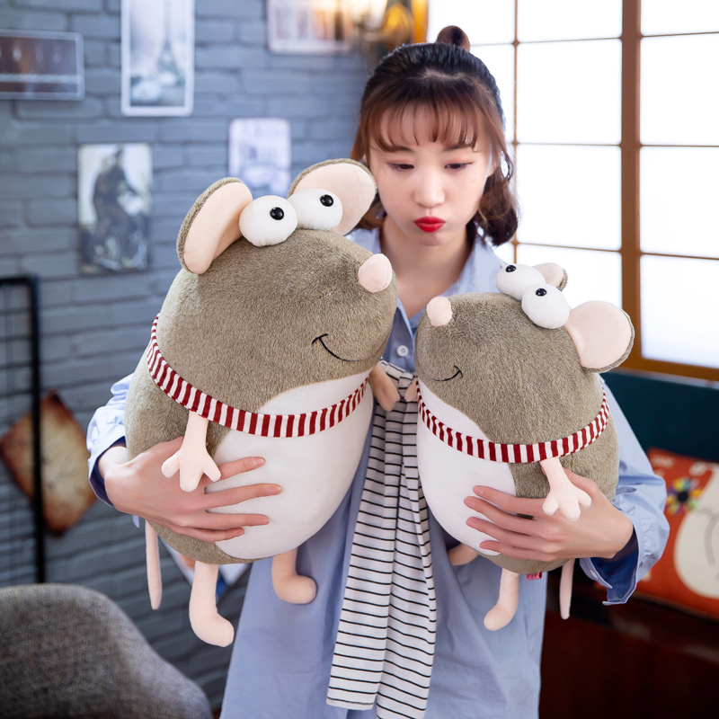 New lovely fat grey big eyes rat Pillow Stuffed Animal Plush Toys for Girls Children Boys Toys cute mouse Doll Birthday Gift