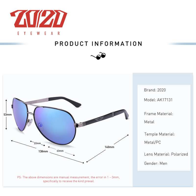 20/20 New Vintage Metal Polarized Sunglasses Classic Brand Sun glasses Coating Lens Driving Fishing Outdoor Shades oculo AK17131 2