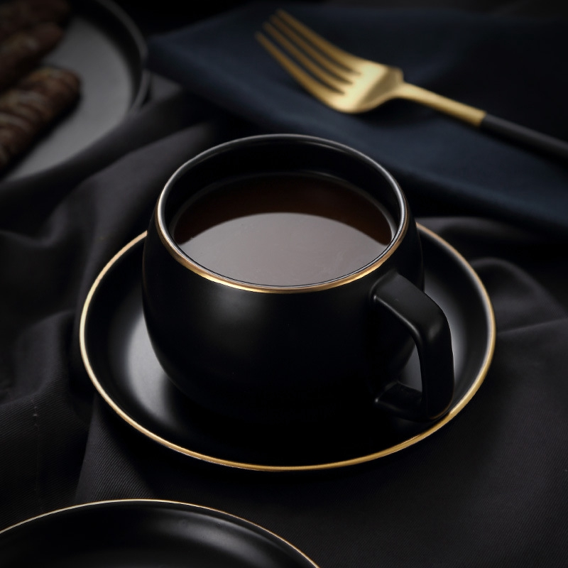 Ceramic Coffee Cup and Saucer Black Pigmented Porcelain Tea Cup Set