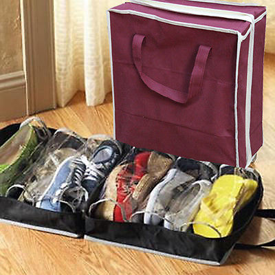 Local Stock Hot Travel Waterproof Folding Shoes Storage Organizer Portable Closet Shoe Bags Wine Red