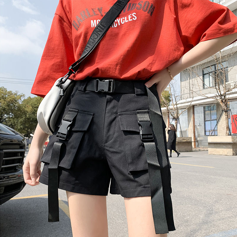 EACHIN Women High Waisted Shorts Ladies Summer Fashion Plus Size Streetwear Casual Cargo Shorts With Belt Pockets Jogging Shorts