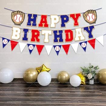 Tema de béisbol decoración para fiesta de feliz cumpleaños chico pastel Topper Banner Baby Shower suministros fiesta primera cumpleaños béisbol Banner