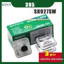 3 sztuk/partia SONY oryginalny 395 SR927SW 1.55V tlenek srebra przycisk baterii komórki 399/395 LR927 AG7 dla Watch zabawki pojedyncze ziarna pakowania