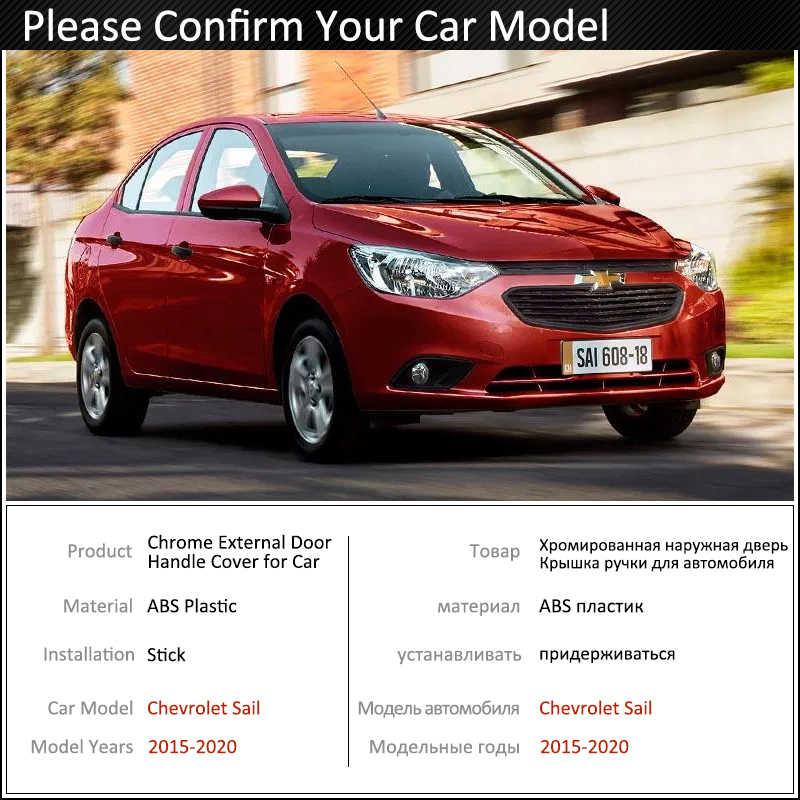 Siyah karbon Fiber kapı kulp kılıfı Chevrolet yeni yelken 2015 ~ 2020 2016 2017 2018 2019 aksesuarları çıkartmalar Trim seti krom
