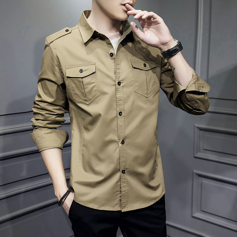 Military Men shirt Safari Style Casual Shirts Long Sleeve Cotton 2020 spring New arrive