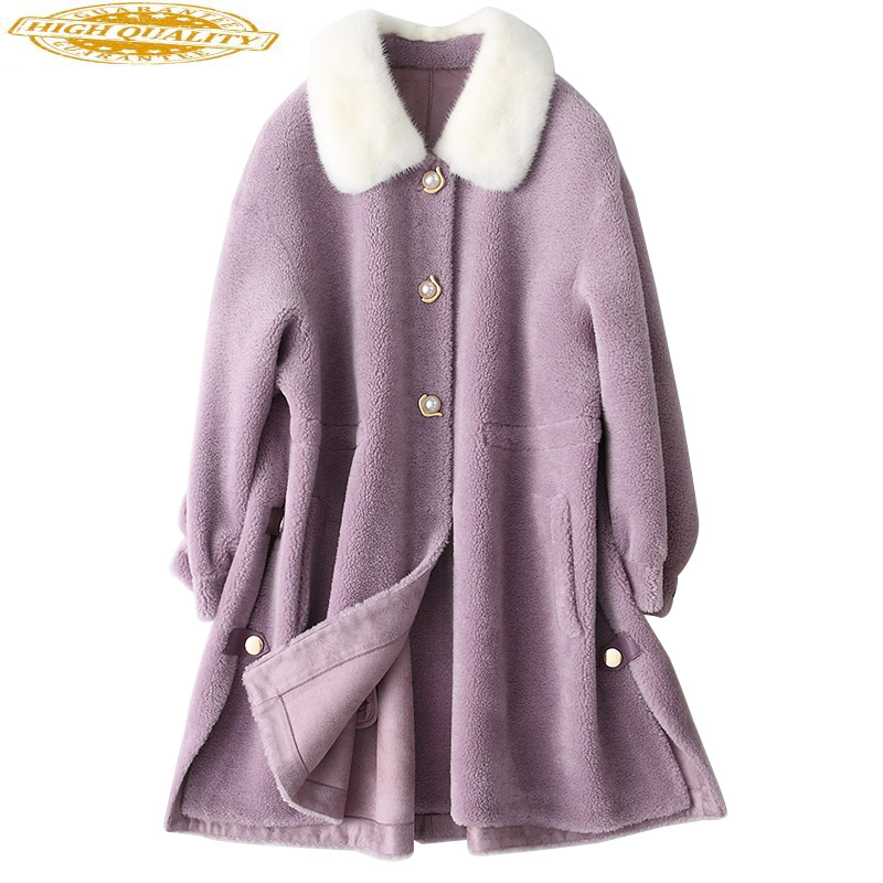 Real Fur Coat Female Mink Fur Collar 100% Wool Coat Winter Jacket Women Sheep Shearling Jackets Manteau Femme YS868687