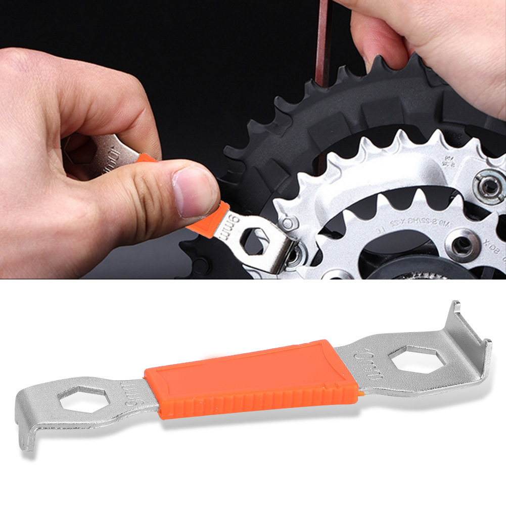 9/10mm Carbon Steel Bicycle Chain Ring Bolts Wrench Chainwheel Dismounting Tool Crankset Chainring Nut Wrench Spanner Tools