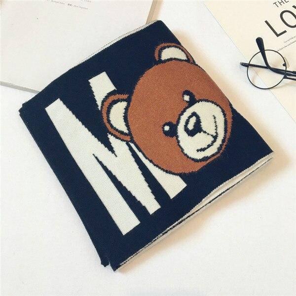 Корейская Клетчатая Шерстяная теплая осенне-зимняя одежда для мальчиков и девочек с рисунком медведя и надписями, шали, шарфы, аксессуары-LHC - Цвет: black(high-grad)
