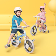Mitu 14 Inch 4-6 Years Children Baby Balance Bike Double Brake System Four-wheeled Ride on Toy Gift  Walk Scooter