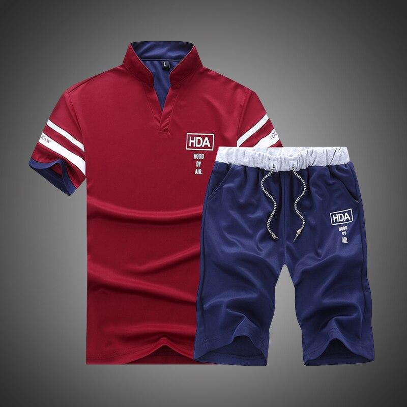 מותג Sportsuits סט גברים 2019 כושר חליפות קיץ 2PC למעלה קצר סט Mens צווארון עומד אופנה 2 חתיכות חולצה מכנסיים קצרים אימונית