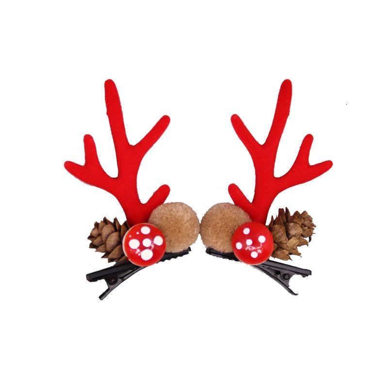 Giáng Sinh Mới Dễ Thương Nhung Kẹp Tóc Lễ Hội Phong Cách Màu Đỏ Nhung Đầu Nai Sừng Tấm Nấm Rừng Hạt Phụ Kiện Tóc Kẹp Tóc