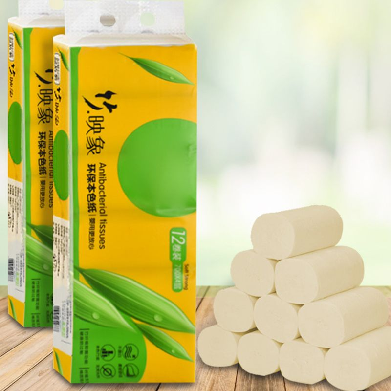 12 Roll Wood Pulp Toilet Paper Towel 4 Layers Embossed Food Grade No Core Tissue 100% Natural Wood