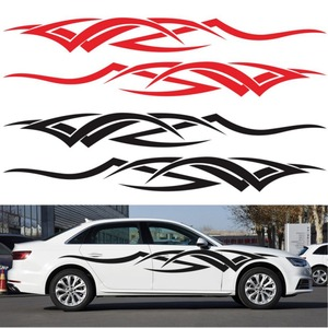Image 5 - 2 adet vinil çıkartması araba vücut yan Wrap alev kabile grafik bel hattı Sticker yüksek kalite araba çıkartmaları yeni