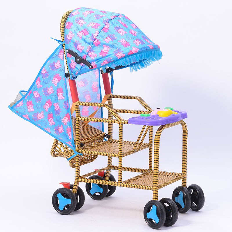 Baby Bamboo Rattan Trolley Baby Light Child Rattan Chair Rattan Imitation Rattan Trolley Can Sit In Summer Stroller