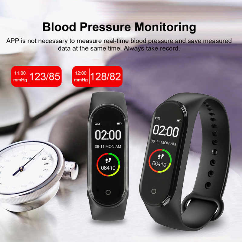 Zoni M4 חכם להקת 4 כושר גשש שעון ספורט צמיד לב קצב דם לחץ Smartband צג בריאות צמיד