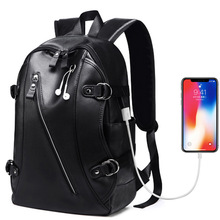 Mens Leather Backpack USB Charg Fashion College School Bag Men Black Notebook Man Zaino Scuola Mochila Laptop