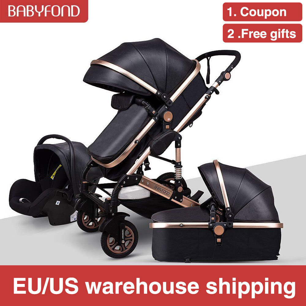 Free Shipping Golden Baby High Landscape Baby Stroller 3 In 1 With Car Seat  Folding Baby Carriage 0-3 Years Prams Newborn Pram