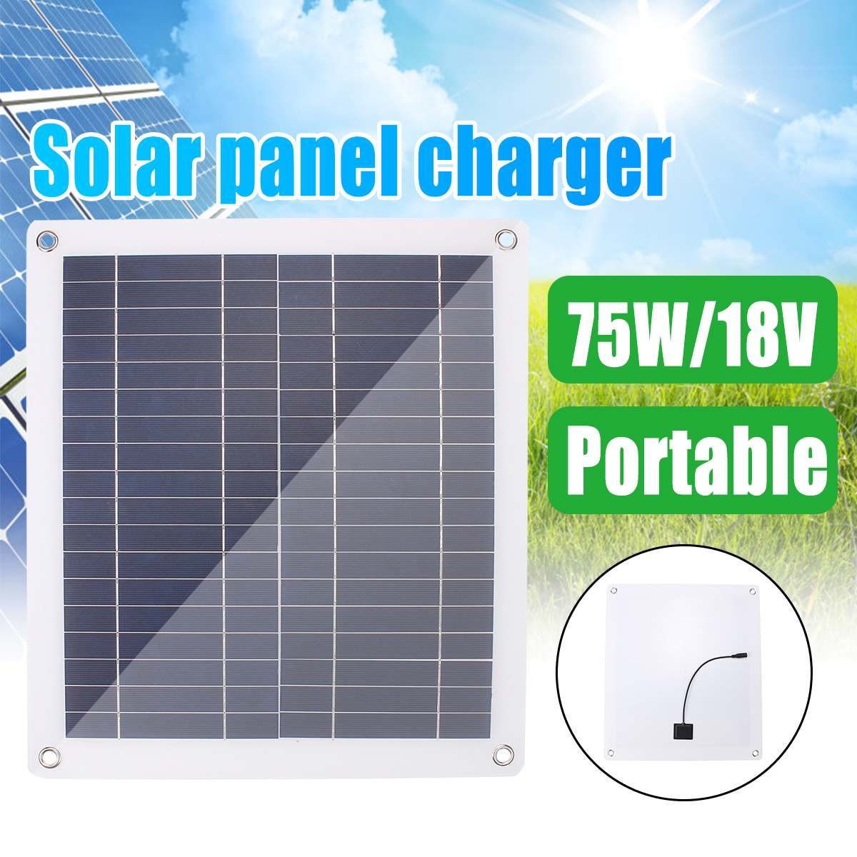 30W-75W 18V Solar Panel Dual USB Output Solar Cells Poly Solar Panel 10/20/30 Controller For Car Yacht Battery Boat Charger