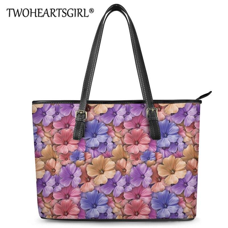 Twoheartsgirl Leather Large Capacity Shoulder Bags Flower Rose Ladies Handbag StylishCasual Floral Tote Bags Bolsa Feminina