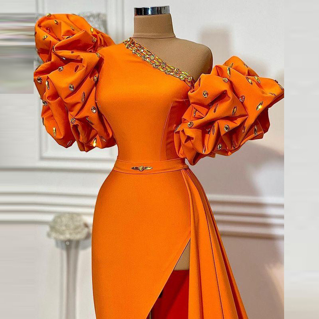Orange One Shoulder Prom Dresses 2021 Summer Puff Short Sleeves Sexy Side Slit Evening Dress Cheap Satin Cocktail Party Gowns 3