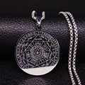 Witchcra Pentagram Stainless Steel Necklaces Seven Archangels Men Silver Color Necklaces Jewelry colgante N18903