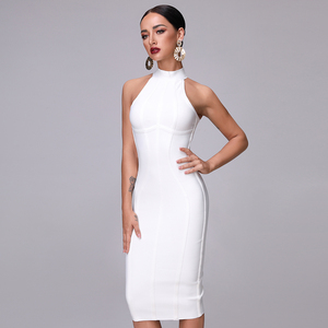Image 4 - SUE DREAM Womens 2020 New Sexy White High Neck Sleeveless Bandage Dress And Knee Length Sexy Bodycon Runway Dresses