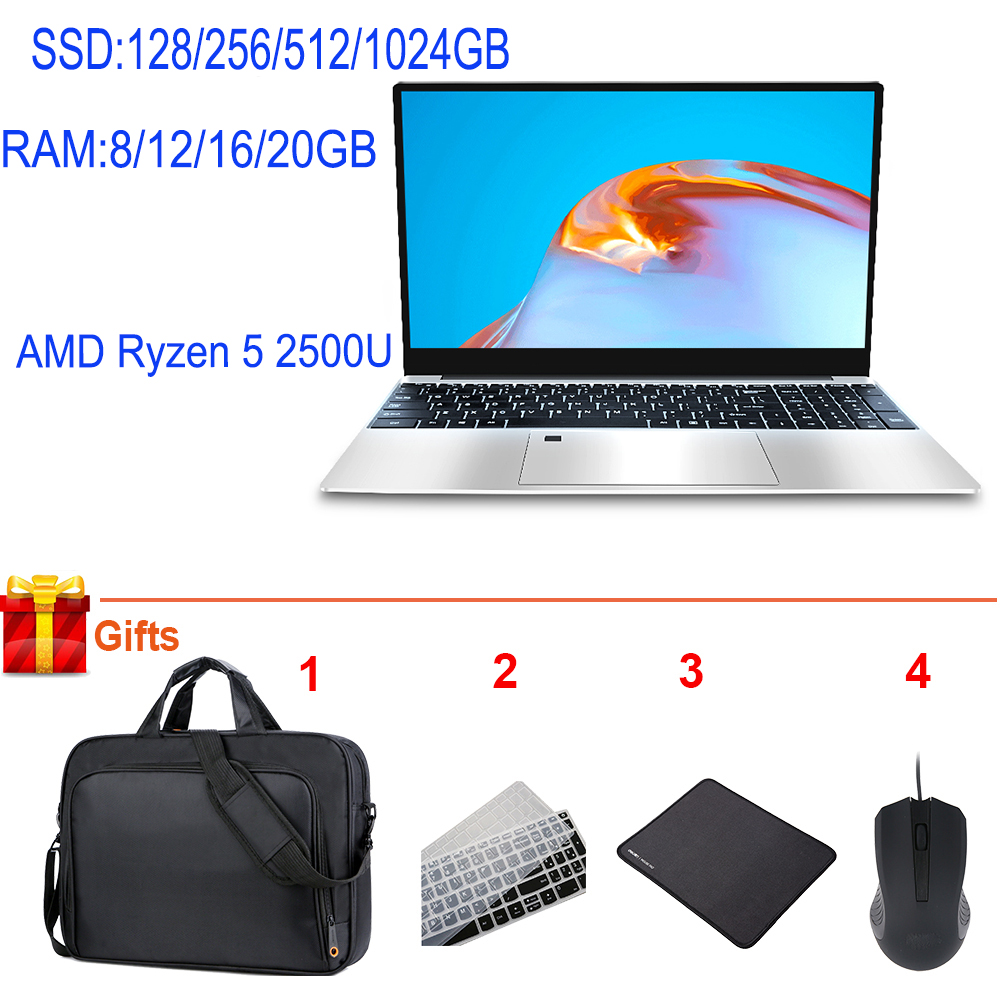 Cheap Gaming Laptop 15 6 Inch DDR4 12GB 16G 20G RAM AMD Ryzen 5 2500U Quad Core Video Editing Wifi AutoCAD Computer