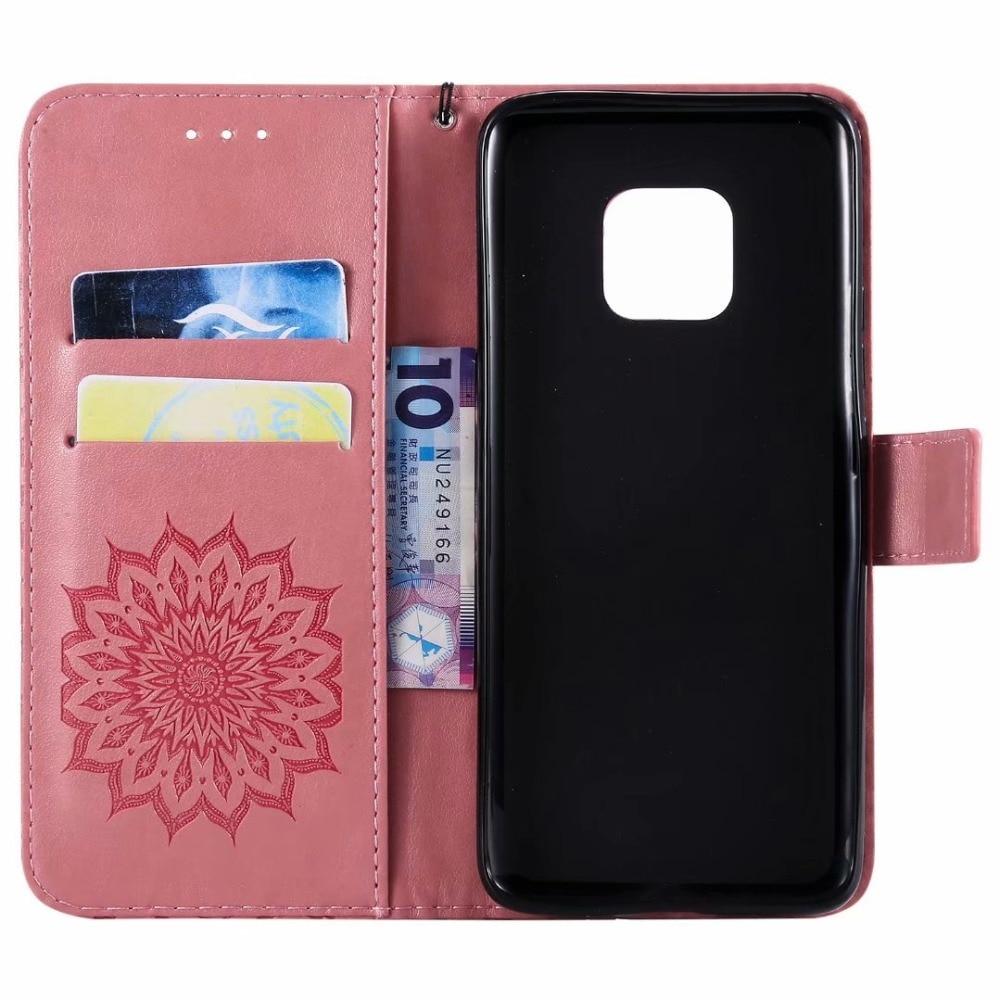100 pçs/lote Retro girassol Em Relevo Carteira de couro caso Para Huawei Companheiro 20 Pro lite caso X TPU + PU capa titular do Cartão caso coque - 2