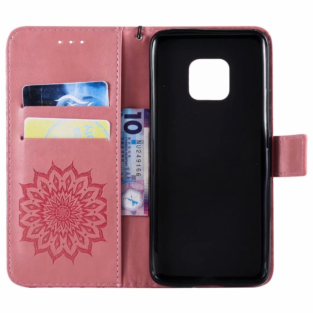 100 stks/partij Retro Reliëf zonnebloem leather Wallet case Voor Huawei Mate 20 Pro lite X case TPU + PU cover case coque Kaarthouder - 2