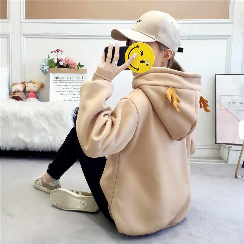 חדש סגנון סתיו חורף נים נשים חמוד צבי הדפסת שרוול ארוך סלעית חולצות אישה מקרית Loose נשים אימוניות