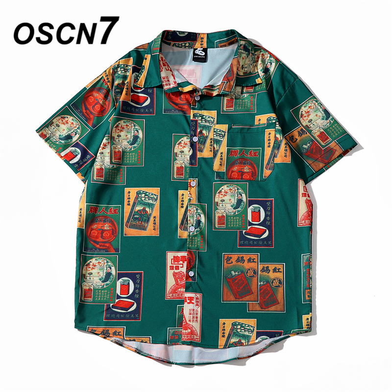 OSCN7 Casual Cloud Printed Short Sleeve Shirt Men Street 2020 Hawaii Beach Oversize Women Fashion Harujuku Shirts For Men 2063