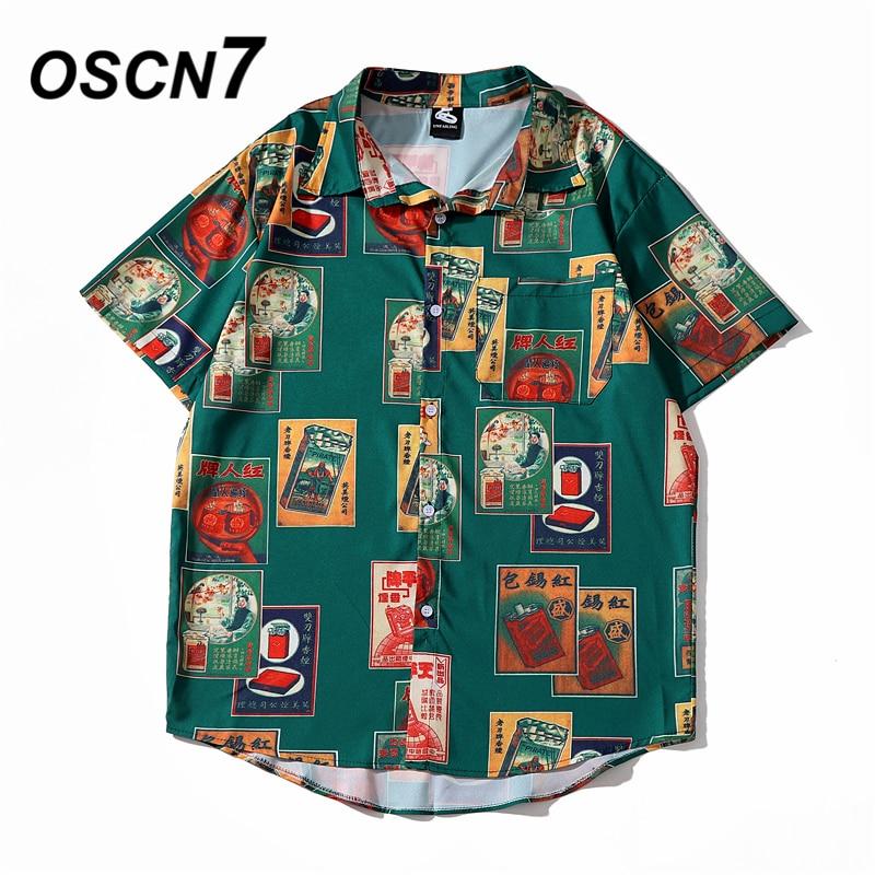 OSCN7 Casual Cloud Printed Short Sleeve Shirt Men Street 2020 Hawaii Beach Oversize Women Fashion Harujuku Shirts For Men 2063