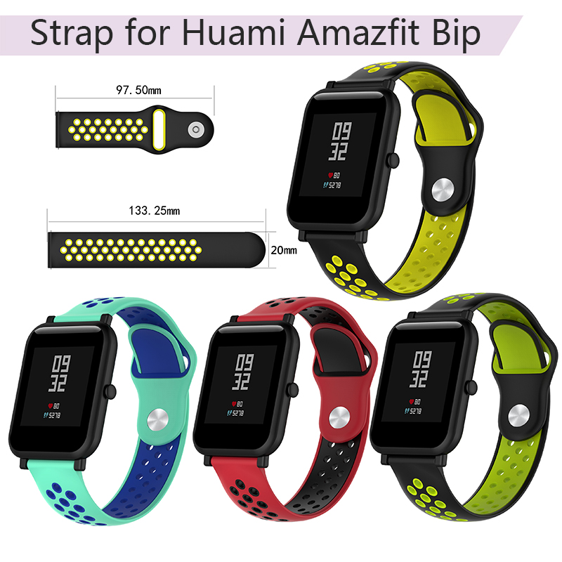 20mm Silicone Wristband Strap for Xiaomi Huami <font><b>Amazfit</b></font> Bip <font><b>Bit</b></font> Sport Smart Watch Band Bracelet Replacement for Huawei Watch <font><b>2</b></font> image