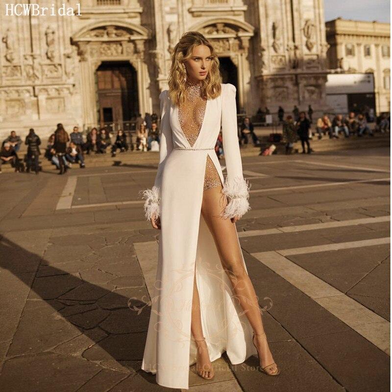 Sexy Long Sleeves Wedding Dresses High Slit Glitter Beads White Satin Plus Size Bridal Wedding Party Dress Robe De Mariee