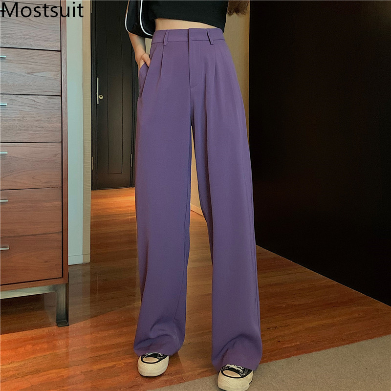 Korean High Waist Wide Leg Suit Pants Trousers Women Zipper Fly Loose Solid Straight Full Length Casual Female Pants 2020