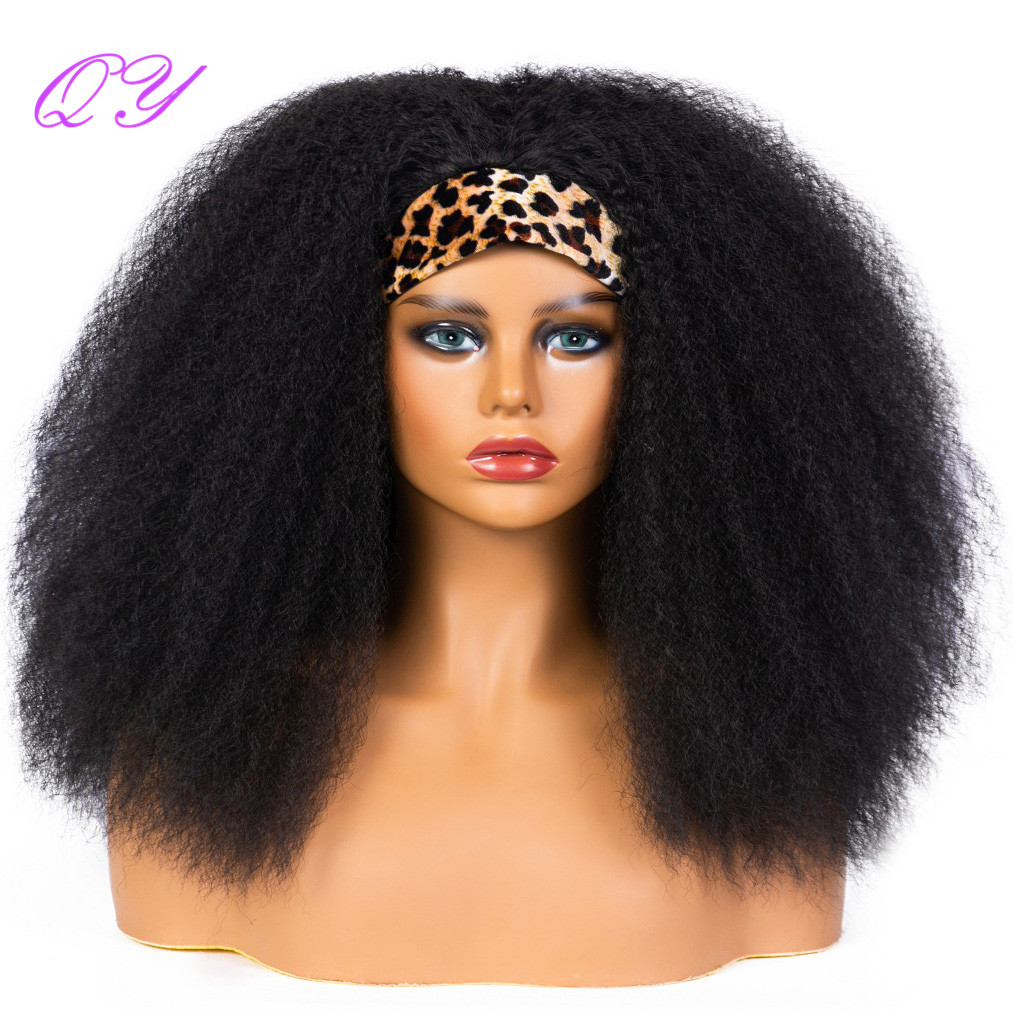 QY Hair Big Afro Kinky Curly Headband Wigs for Women Synthetic Hair Wigs Wrap Hair Style