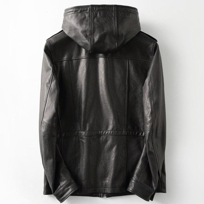 2020 New Genuine Jacket Men Vintage Sheepskin Coat Hood Motorcycle Men's Leather Jackets Casaca Cuero KFS19M011