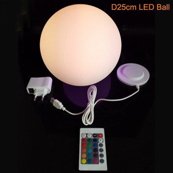 Magic RGB led Ball outdoor diameter 25cm rechargeable,Glowing Sphere,waterproof pool LIGHT BALL for Christmas Decoration 1pc