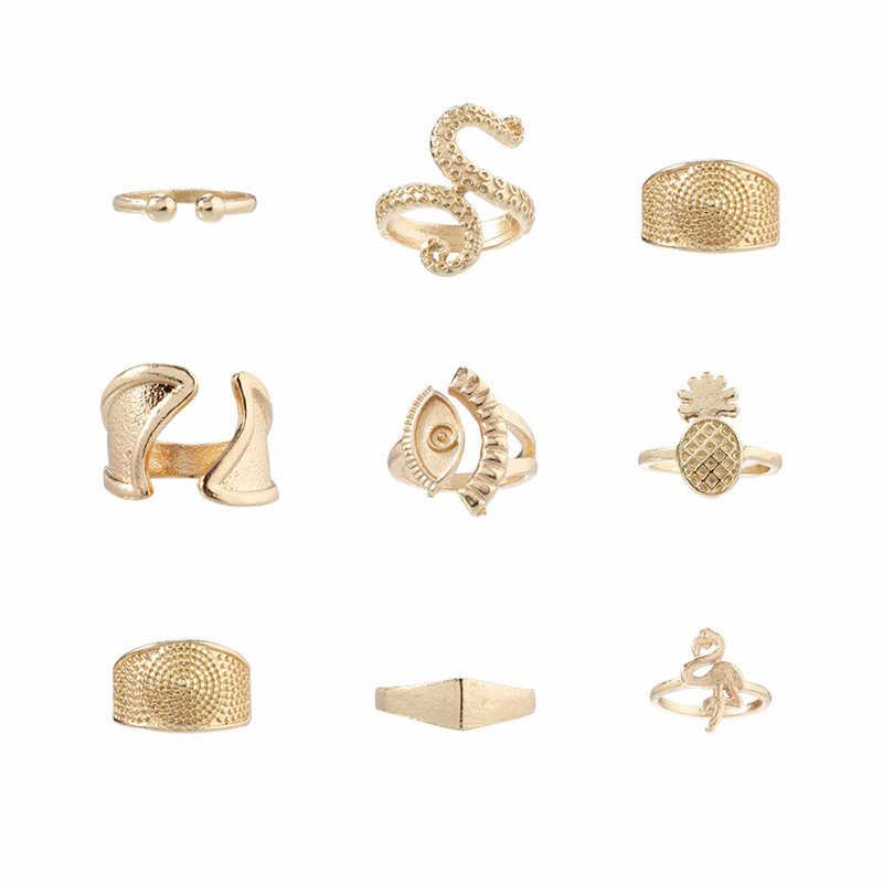 Moduł czechy pierścień zestaw dla kobiety złoty kolor oko ptak Octopus ananas geometryczny metal komunikat Wedding Ring