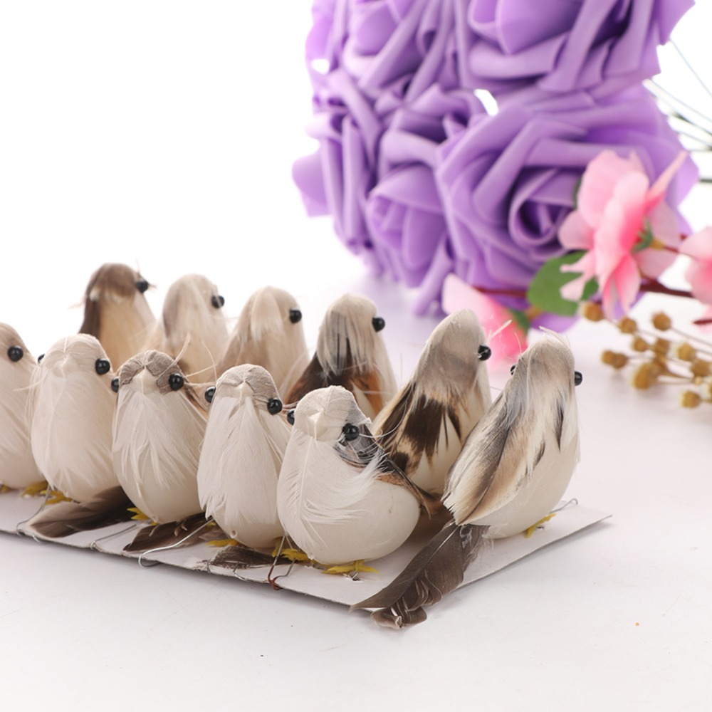 12 Pcs Artificial Feather Bird Decor Craft Wedding Doves Ornament Bird Adornment 3D Foam Fake Dove Christmas Tree Decoration