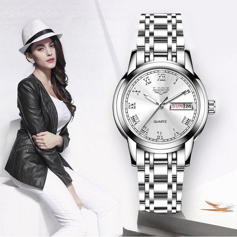 Image 5 - LIGE Fashion Watch Women Quartz Womens Watches Luxury Top Brand Date Week Stainless Steel Female Dress Clock relogio femininoWomens Watches   -
