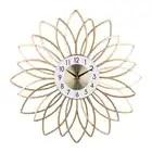 С выдвижной ручкой, размером 24 дюйма 60 см кованого железа Тихая декоративные настенные часы золотой
