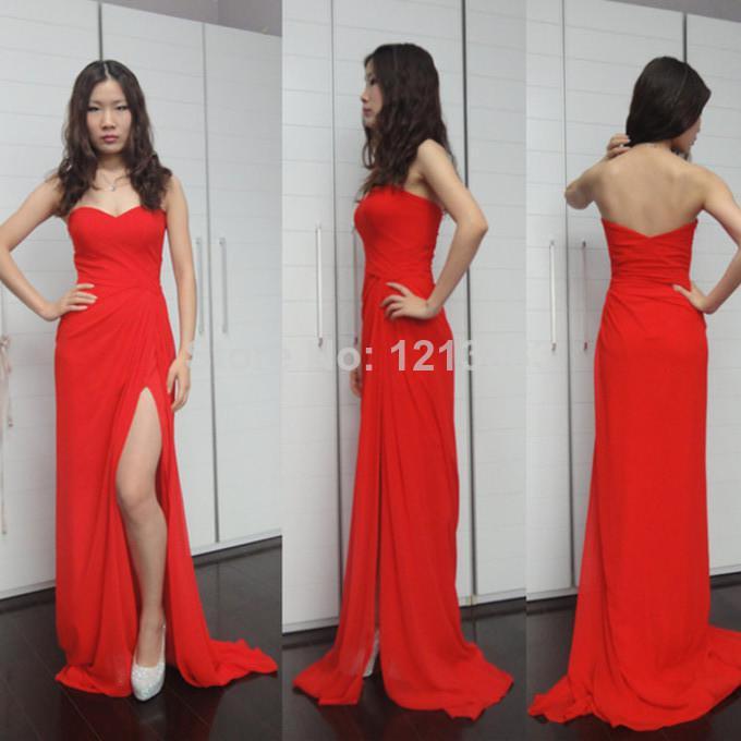 free shipping robe de soiree prom gown 2015 new hot&sexy vestidos de festa floor-length long elegant red chiffon evening Dress