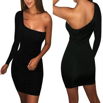 Autumn long sleeve One Shoulder Straps Slash Neck High Waist Sexy Women Solid Club Mini Dress 1
