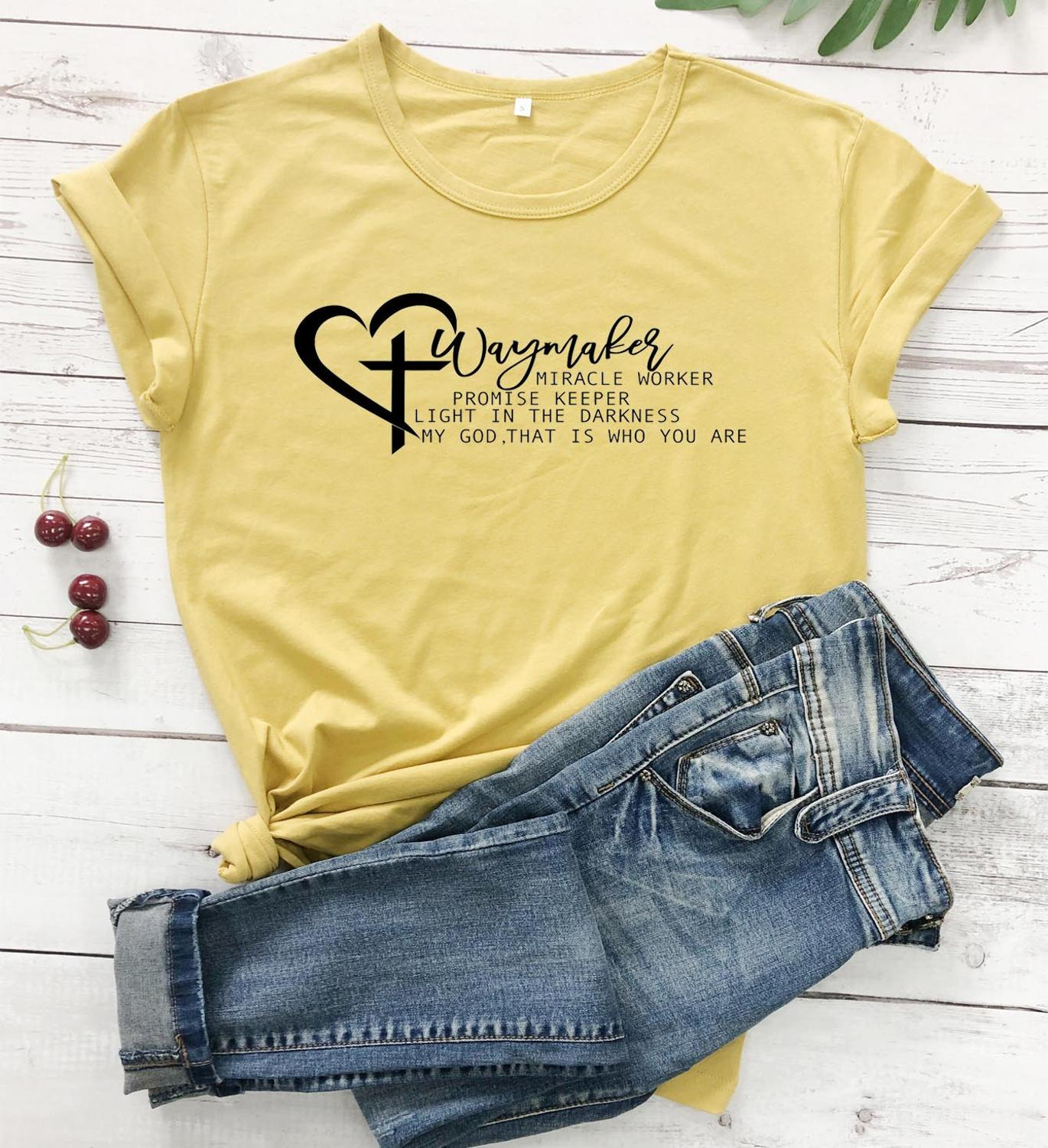 Waymaker Miracle Worker Promise Keeper My God Christian Svg Religion Women T Shirt Heart Aesthetic Cross Christian Tees Gift Top T Shirts Aliexpress
